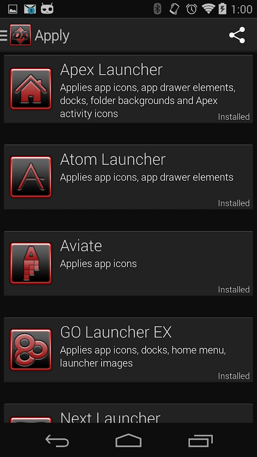 Serenity Launcher Theme Red- screenshot