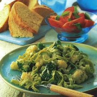 Tagliatelle with Broccoli, Cauliflower and Blue Cheese Recipe