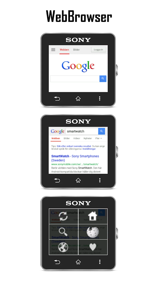 WebBrowser for SmartWatch- screenshot