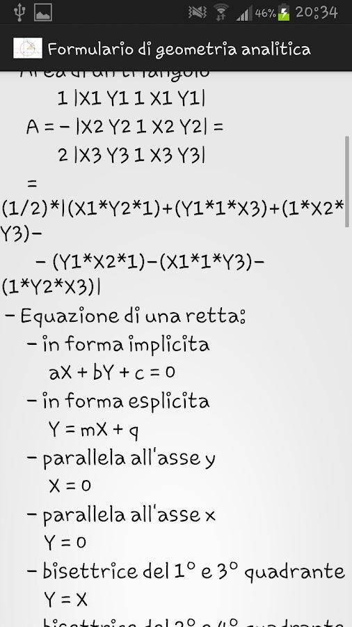Formulario geometria analitica - screenshot