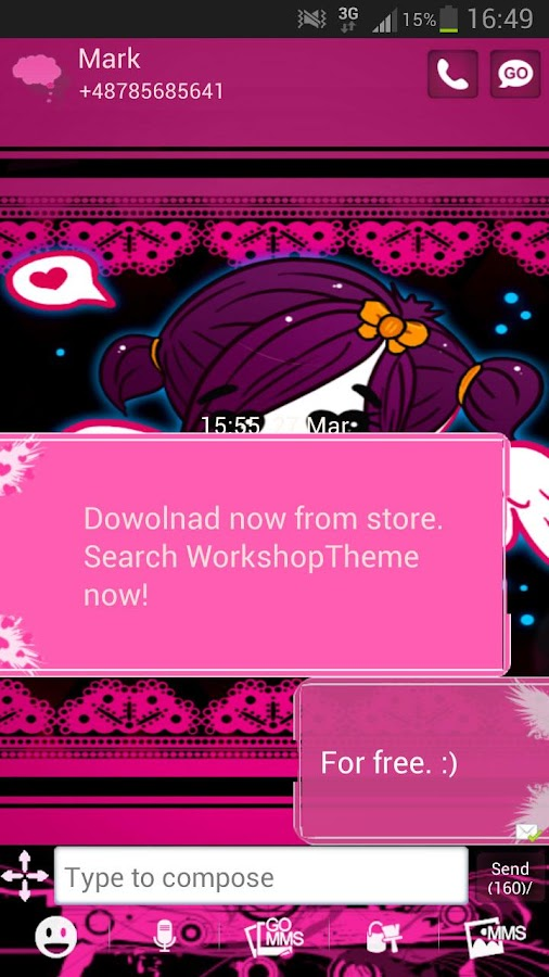 GO SMS Pro Theme Emo Pink- screenshot