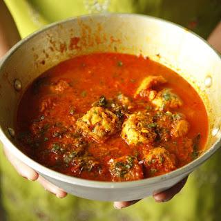 Dharan Ji Kadhi (Chickpea-flour Dumplings in Spiced Tomato Sauce).