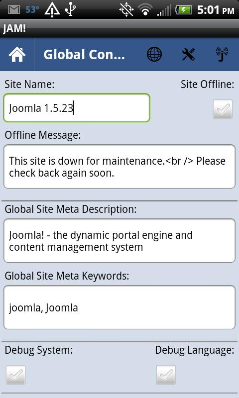 Joomla Admin Mobile!- screenshot