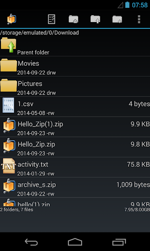 AndroZip screenshot 2