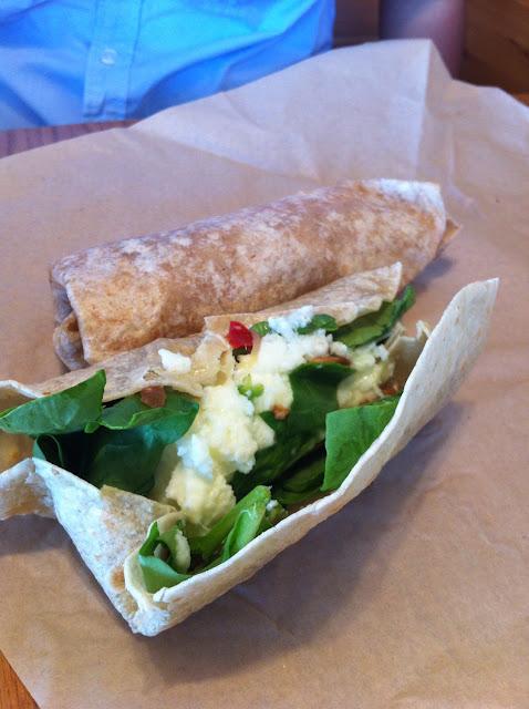 Egg white & spinach on gluten-free tortilla