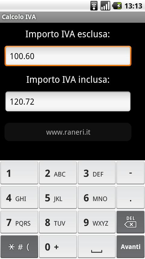 Calcolo IVA- screenshot