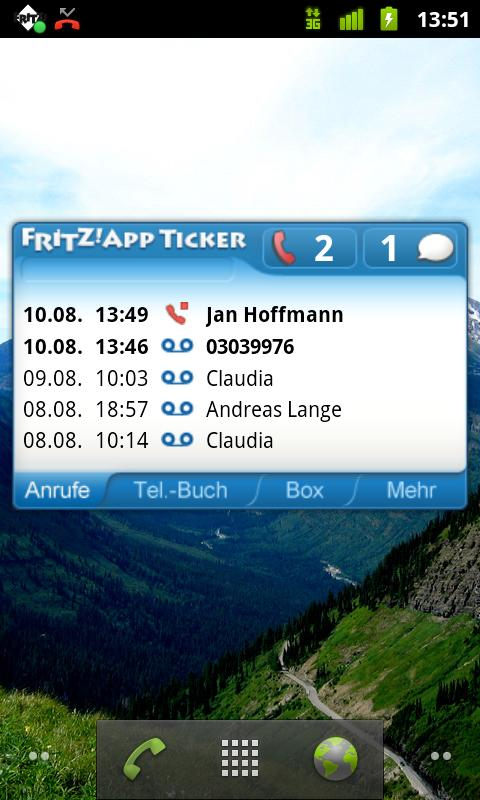 FRITZ!App Ticker Widget - screenshot
