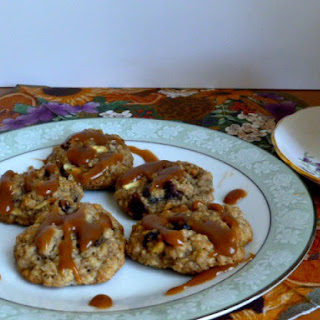 Oatmeal Apple Cookies with Dried Cranberries and Walnuts.