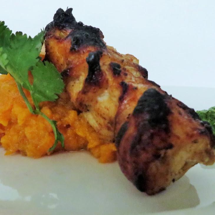 Spicy Grilled Chicken Skewers with Cilantro Pesto Recipe