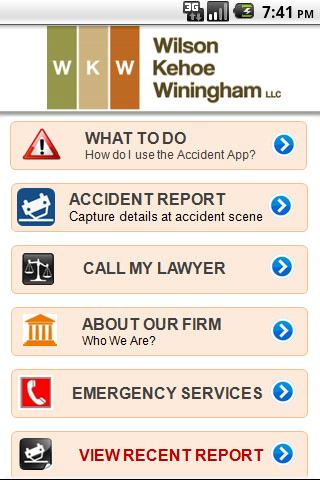WKW Auto Accident App - screenshot
