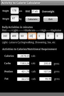 Activity to Calorie Calculator screenshot