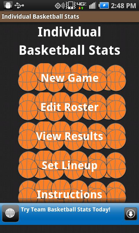 Individual Basketball Stats- screenshot