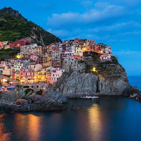 Manarola, Cinque Terre by Tomas Vocelka - City,  Street & Park  Night ( cinque terre, liguria, mediterranean, sea, tourism, view, manarola, italy )