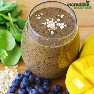 Mango-Blueberry & Banana Green Smoothie Recipe with Oats.