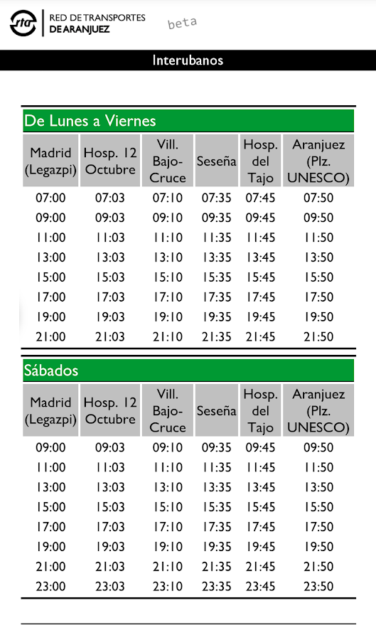Red de Transportes Aranjuez- screenshot