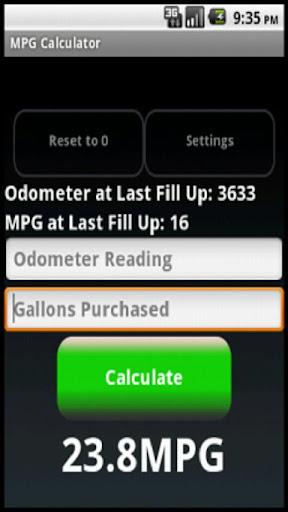 MPG Calculator Tracker