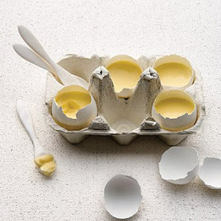 Vanilla Custard Served in Eggshells.