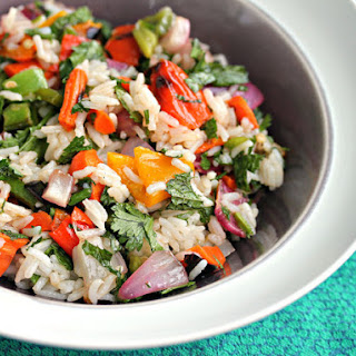 Grilled Vegetable and Jasmine Rice Salad With Herbs and Cashews.