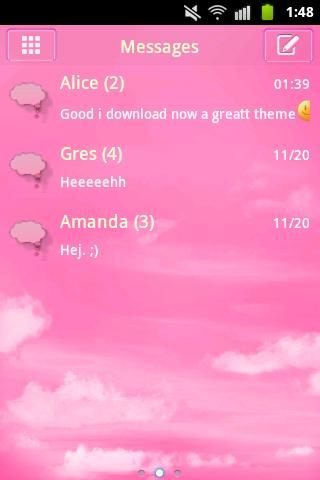 GO SMS Pro Theme Pink Clouds- screenshot