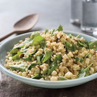 Israeli Couscous with Porcini and Arugula.
