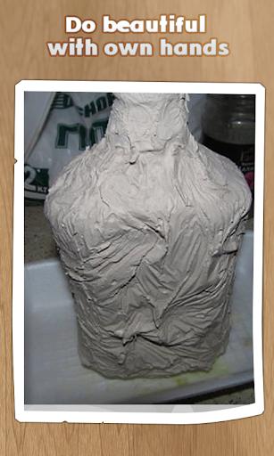 石膏装饰瓶。手工制作