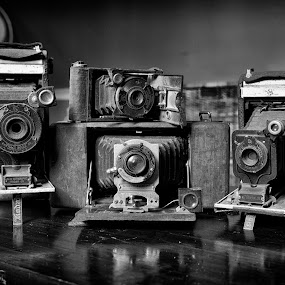 Four Way pile Up.. by Alan Roseman - Artistic Objects Antiques ( old camera, bellows, lenses, days gone by, camera, kodak, vest pocket, antique )