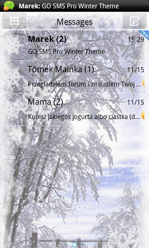 Winter Theme for GO SMS Pro- screenshot