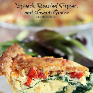 Spinach, Roasted Peppers and Havarti Quiche.