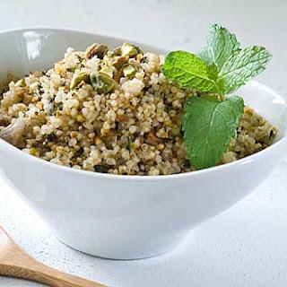 Gluten Free Pistachio Garlic Mint Quinoa Pilaf
