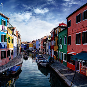 Burano IV. by Zsolt Zsigmond - City,  Street & Park  Historic Districts ( houses, colorful, street, burano, canal, italy, city,  )