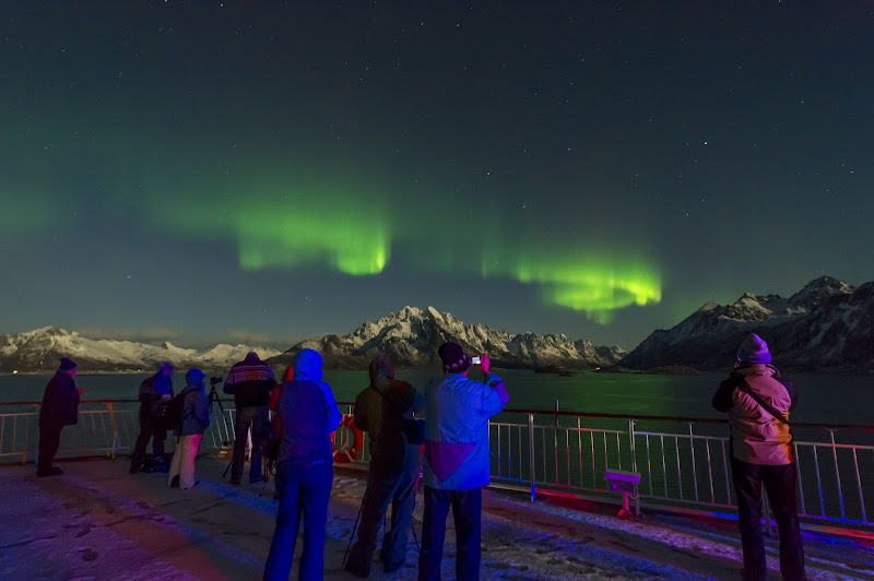 A display of the Northern Lights seen during a Hurtigruten sailing.