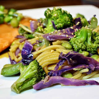 Ginger Sesame Noodles With Broccoli And Cabbage.