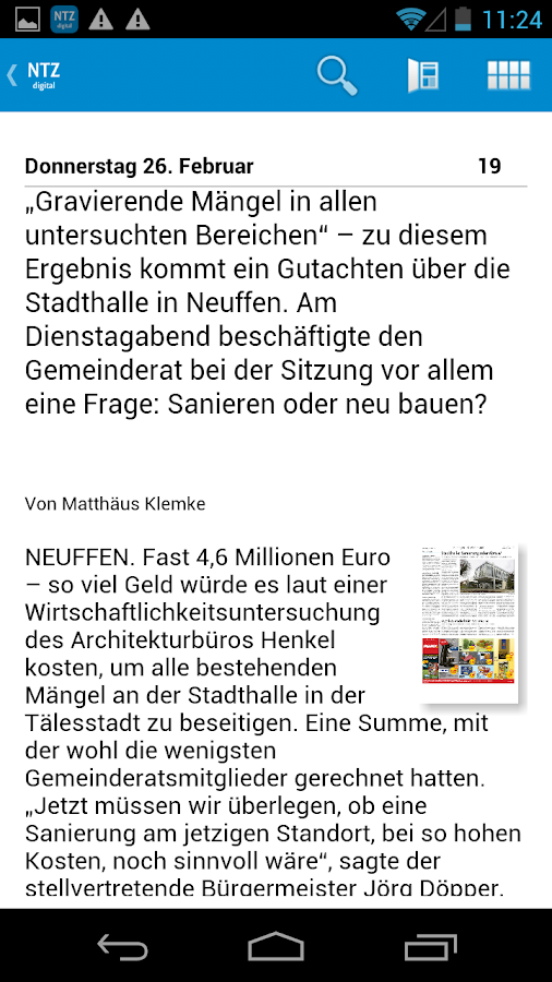 Nürtinger Zeitung digital- screenshot