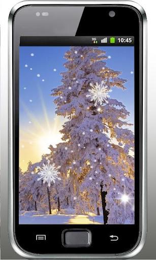 Snow Trees Sunset LWP