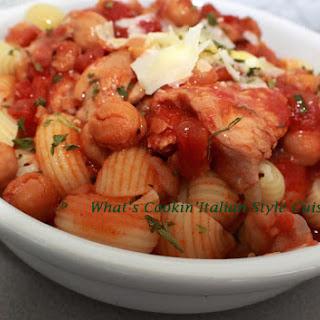 Chicken, Chickpeas in Tomato Burgundy Sauce Over Pasta