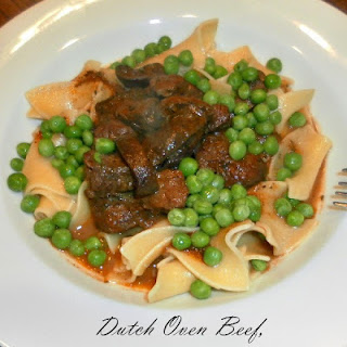 Dutch Oven Beef, Mushrooms and Peas