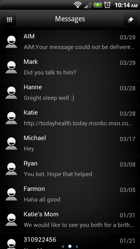 Rose Dark Phone GO SMS Theme - screenshot