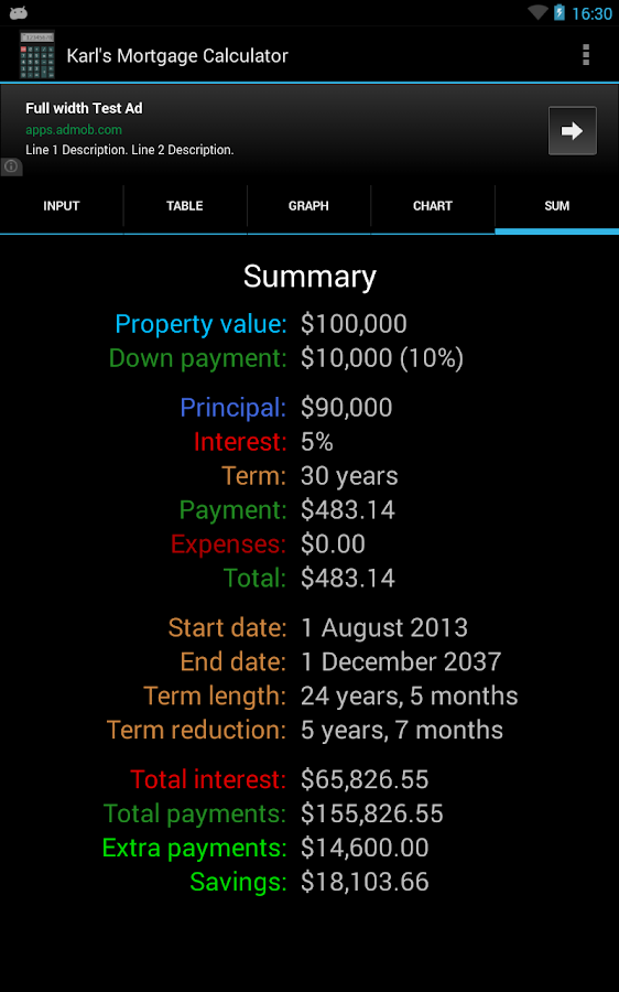 Karl's Mortgage Calculator - screenshot