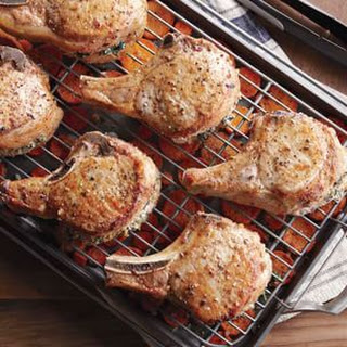 Stuffed Pork Chops with Roasted Root Vegetables.