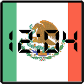 Flag LCD Clock Widget Mexico