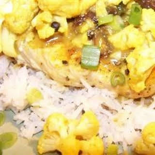 Curried Pork Chops and Cauliflower with Basmati Rice.