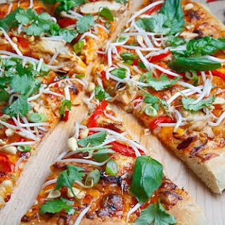 Thai Chicken Pizza with Sweet Chili Sauce.