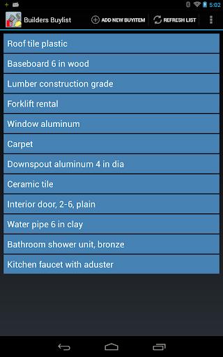 Builders Buylist Organizer