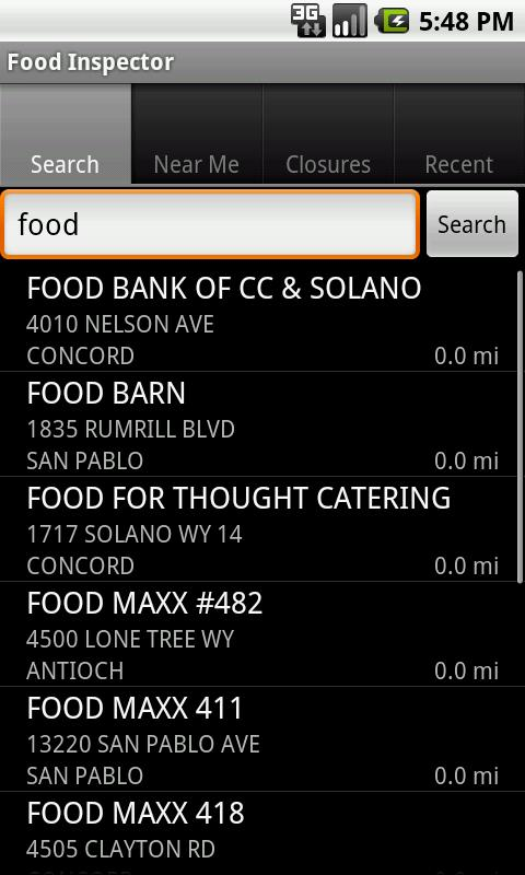 California Food Inspector - screenshot