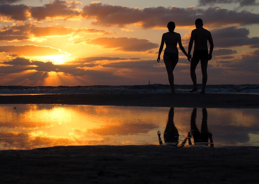 Please, love me forever by Name of Rose - People Couples ( love, enthusiasm, sunset people couple love, red, passionate, moods, passion, the mood factory, improving mood, couple holding hands, inspirational )