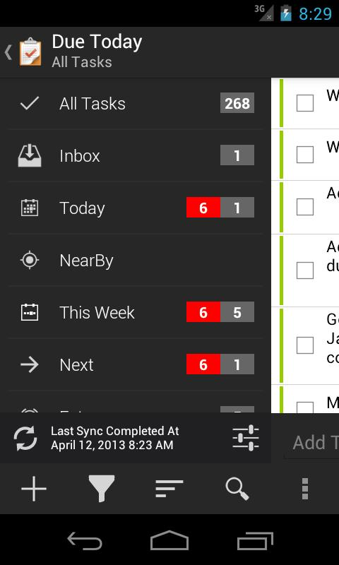 Due Today Tasks & To-do List - screenshot