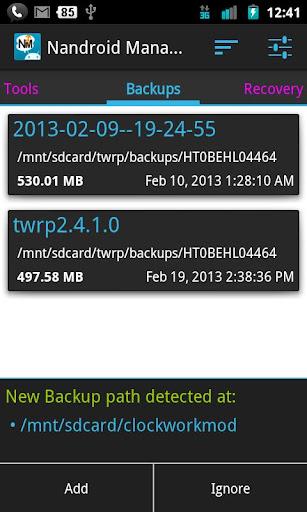 """Al flashear una nueva ROM debemos hacer una copia de seguridad , estas copias , se llaman """"Nandroids"""" y si las restauramos tendremos el móvil justo como al hacerla , además se guarda en la SD. Sobretodo si cambias a menudo de ROM tienes que tener muchísimas , para gestionarlas tenemos """"Nandroid Manager"""". Al abrir la app , lo primero que nos pide son los permisos de superusuario , al aceptarlos nos aparecerá una pestaña con todas nuestras nandroids , a la derecha tenemos la pestaña """"recovery"""" , donde podemos reiniciar en modo recovery , flashear otro recovery , o"""