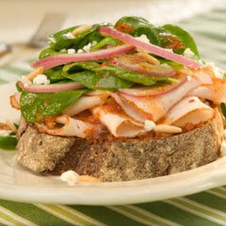Open-faced Turkey Bruschetta Salad Sandwiches