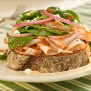 Open-faced Turkey Bruschetta Salad Sandwiches.