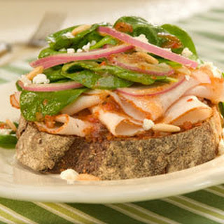 Open-faced Turkey Bruschetta Salad Sandwiches.